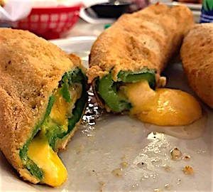 Unpeeled chiles rellenos as served in Levelland.