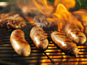 Bratwursts on the Grill