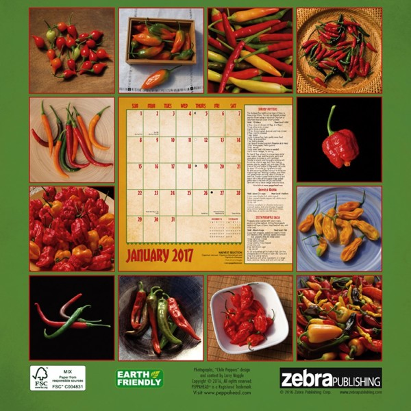 Chile Peppers Calendar back