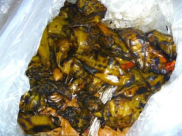 Roasted chiles in large plastic bag