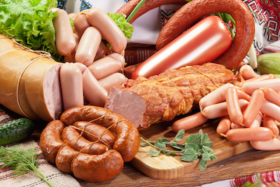 Variety of sausage products. Close-up shot.