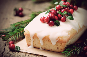 Christmas сake with cranberry. Selective focus, toned