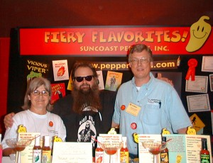 """Biker Billy"" Hufnagle visiting Renate and me at our Fiery Foods Show booth in 2000 - back then, we had our U.S. company Suncoast Peppers, Inc. and produced hot sauce in sunny Florida."