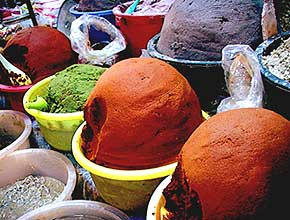 Ready-made chile pastes at a local market.